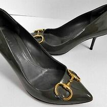 Gucci Dark Gray Patent Leather Horsebit Pointy Pumps Heels Italy 36 Photo