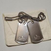 Gucci Double Dog Tag Set Unused Silver Necklace Authentic Pendant F/s From Japan Photo