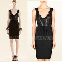 Gucci Dress Black Lacquered Lace Detail Deep v-Neckline M Medium Photo