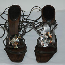 Gucci Expresso Brown Wrap Around Strappy Heels W/mother of Pearl  Sz 9.5 Photo