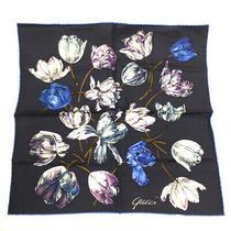 Gucci Floral Handkerchief Scarf Silk 100 Black Women Second Hand K90923357 Pd1 Photo