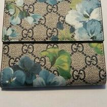 Gucci French Flap Supreme Blossom Coated Canvas Brown & Blue Wallet 410071-1147  Photo