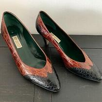 Gucci Genuine Crocodile Alligator Red Vintage 2 Heel Pump Shoes Sz 39.5b Italy  Photo