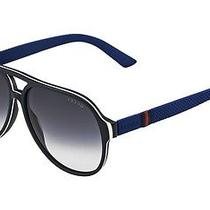 Gucci Gg 1065/s 4uv Jj Matte Blue/white Unisex Aviator Sunglasses Photo