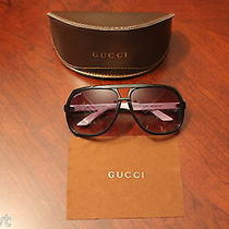 Gucci Gg 1622/s Ovf Back/white Aviator Unisex Sunglasses Photo