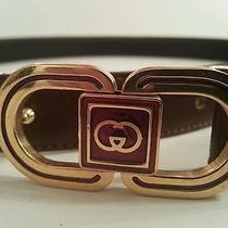 Gucci Gg Authentic Vintage Rare Logo Nos Leather Belt 75/30 Womens Xs Photo