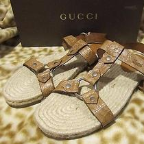 Gucci Gg Brown Leather Sandals Flip Flop Croc Print Mens 12 G /us 13 D 550 Photo