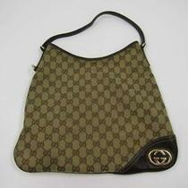 Gucci Gg Canvas Britt Medium Hobo Bag Beige/ebony 169947-214397 Preowned Photo