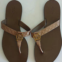 Gucci Gg Flip Flop Thong Sandals Miro' So Metal  Patent Leather Size 10  Photo