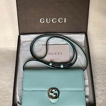 Gucci Gg Icon Moon Leather Wallet on Strap Woc Pastel Blue Near Mint Condition Photo