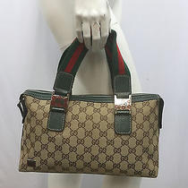Gucci Gg Logo Canvas Purse Green Red Stripe Green Red Enamel Bits Green Leather  Photo
