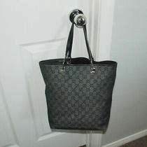 Gucci Gg Logo Canvas Tote Bucket Purse Bag Black Grey Silver Tone Metal Leather  Photo