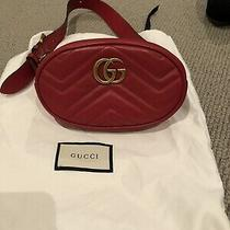 Gucci Gg Marmont Leather Belt Bag / Bum Bag Size 75cm Red Photo