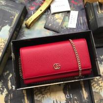 Gucci Gg Marmont Leather Chain Wallet Hibiscus Red Autenthic 100% New With Box Photo