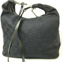 Gucci Gg Monogram Handbag Purse Tote Bag Black Italy Hobo Photo