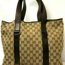 Gucci Gg Monogram Handbag Purse Tote Bag Brown Italy  Photo
