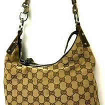 Gucci Gg Monogram Handbag Purse Tote Bag Brown Italy Hobo Photo