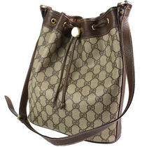 Gucci Gg Pattern Shoulder Bag Brown Pvc Leather Vintage Italy Auth Junk 1859 Photo