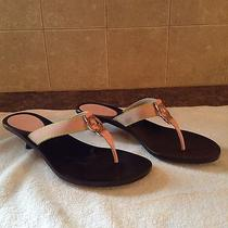 Gucci Gg Pink/gold Thong Sandal Kitten Heels - Size 7b Women's Photo