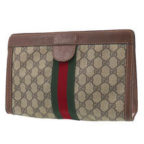 Gucci Gg Plus Web Stripe Clutch Bag Brown Pvc Leather Authentic Uu626 O Photo