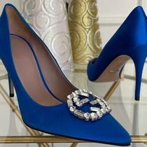 Gucci 'Gg' Pointy Toe Pump Satin Crystal Logo Sz 36 Blue Swarovski Silver Heel Photo