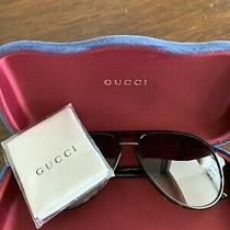 Gucci Gg0015s 002 58-14-140 Men's/women's Aviator Sunglasses Havana Brown Photo