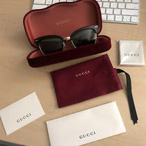 Gucci Gg0055s 55mm Cat Eye Sunglasses Black Silver Green Brand New With Reciept Photo