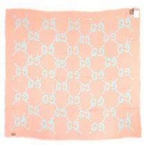 Gucci Ghost Shawl Gg Logo Pink Green Stall Scarf Mint Salmon 449009 3g856 5769 Photo