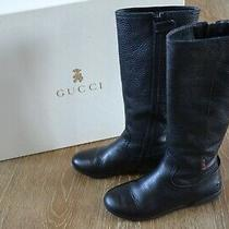 Gucci Girls Black Leather Tall Boots Size Euro 30/us 12 Euc Made in Italy Photo