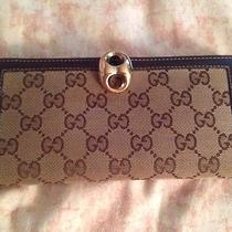 Gucci Gold Closure Wallet Euc Photo