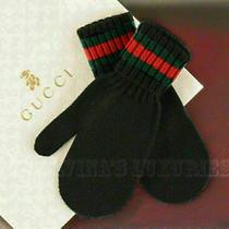 Gucci Golves Mittens Knit Black Wool Signature Web Toddler's Kid's 269522 Sz S  Photo
