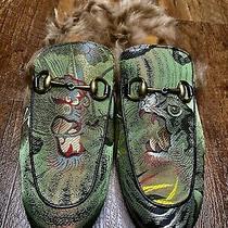 Gucci Green Gold Princetown Dragon Jacquard & Fur Slippers Mens Us 11 Rtl 895 Photo