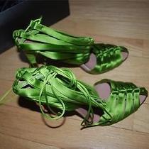 Gucci Green Satin Bamboo Corset Heels 8 Photo
