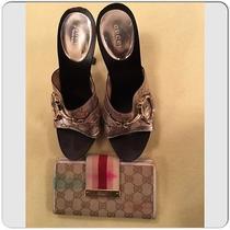 Gucci Guccissima Gg Silver Metallic Leather Horsebit Wood Heel Sandals Size 39 Photo