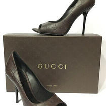 Gucci Guccissima Leather Chocolate Brown Peep-Toe Pumps Heels - Sz 35.5 Photo