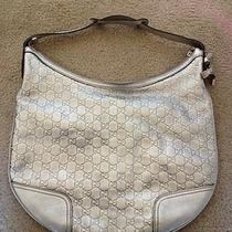 Gucci Guccissima Princy Hobo Tote Bag Purse Handbag Silver Gg Photo
