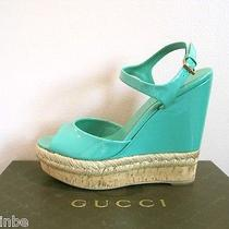 Gucci Hollie Jasmine Green Patent Espadrille Cork Wedges Shoes Sandals 39 9 Photo