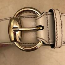 Gucci Horsebit Beige White Leather Belt Photo
