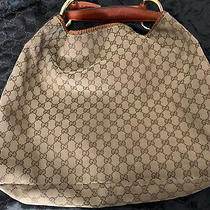Gucci Horsebit Hobo Shoulder Bag Canvas Xl Gold Rare Lt. Brown Leather Accent Photo