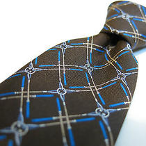 Gucci Iconic Silk Tie New Wt Skinny Brown/blue/tan/white Interlocking G Italy  Photo