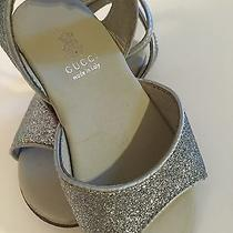 Gucci Infant Baby Shoes Sandals Sz 5 1/2 Silver Glitter 18-24 Months 189 Photo