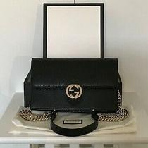 Gucci Interlocking G Wallet on Chain Clutch Bag Black Pebble Leather Excellent Photo