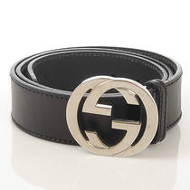 Gucci Interlocking Palladium Buckle Belt Photo