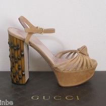 Gucci Isabeau Dusty Blush Suede Knot Platform Bamboo Sandals 37.5 7.5 Photo