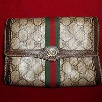 Gucci Italy Gg Monogram Leather Purse Handbag Clutch Gucci 2127 / 20 Vintage Photo
