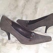 Gucci Italy Gray Square Toe Kitten Heel Leather Accent Suede Shoe 8 Photo