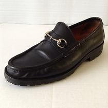 Gucci Italy Horsebit Silver Signature Black Leather Jug Here Mens Loafer sz.11 Photo