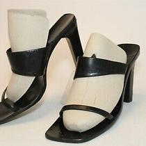 Gucci Italy Made Womens 9 B Black Leather Sandals Tall High Heels Shoes Photo