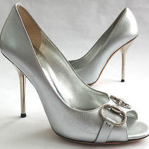 Gucci Italy Metallic Silver Leather & Chrome Stiletto Heels Shoes It 38.5 Us 8  Photo