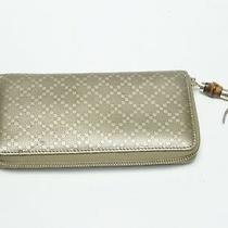 Gucci Jacquard Leather Diamante Zip Around Clutch Wallet With Bamboo Photo